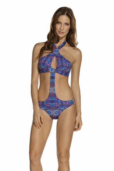 Trikini bleu imprimé ethnique croisé sur le buste OndadeMar 2013
