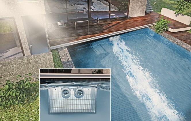 HydroStar amène le pouvoir de la nature dans votre piscine. Contrairement aux autres systèmes de nage à contre-courant, HydroStar génère un flot d'eau large qui porte le corps dans l'eau, similaire au courant naturel d'une rivière et sans éclaboussures. © HydroStar - BINDER