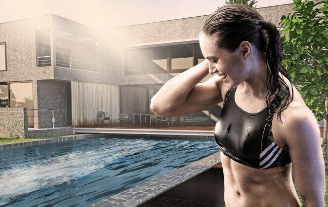 Avec le bon système de nage à contre-courant, nager une longue distance est possible sans avoir besoin d'une grande piscine. La turbine de nage HydroStar génère un courant régulier et fort qui permet la nage en continu même pour les athlètes professionnels. © HydroStar - BINDER