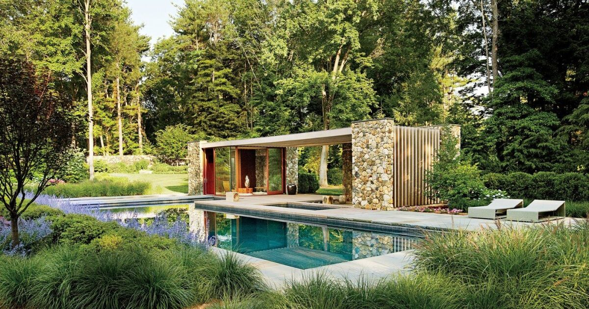 a la d couverte d un pool house dans le connecticut. Black Bedroom Furniture Sets. Home Design Ideas