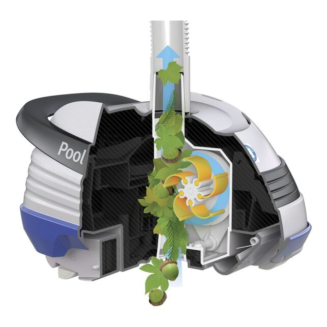 Un robot de piscine doté de turbines à pales mobiles.