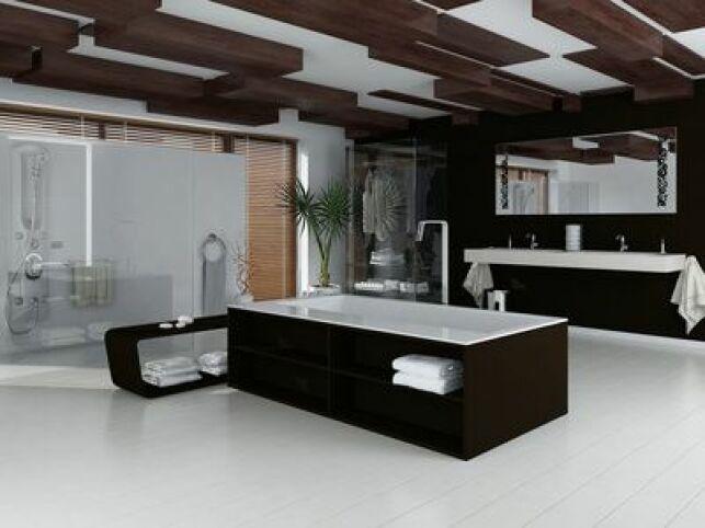 Une baignoire balnéo noire est un élément de décoration indispensable pour une salle de bain design.
