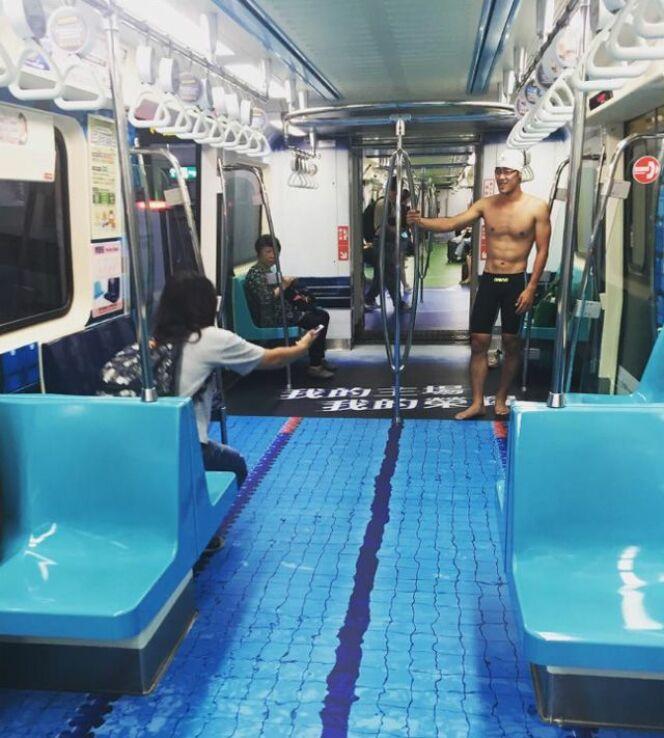 Une illusion très réaliste dans le métro de Tapei.