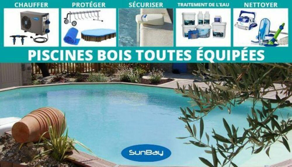 Une piscine bois toute équipée, en promotion chez Jardimagine !© Jardimagine