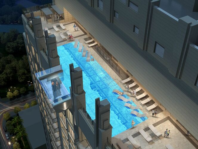 "Une piscine de Houston avec une vue…vertigineuse  <span class=""normal italic petit"">© Market Square Tower</span>"