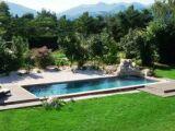 Une pelouse autour de la piscine