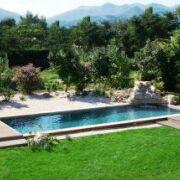 une pelouse autour de la piscine fleche