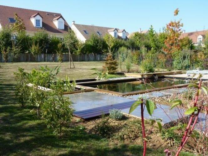 """Unité harmonieuse de la piscine naturelle et du jardin<span class=""""normal italic petit"""">© Patrick Lemaire Paysage</span>"""