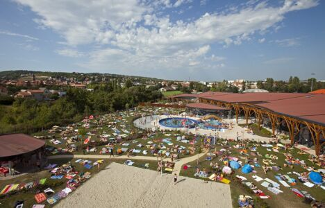 """Vue d'ensemble de la piscine l'O à Obernai, avec son bassin et son solarium<span class=""""normal italic"""">© Hamm</span>"""