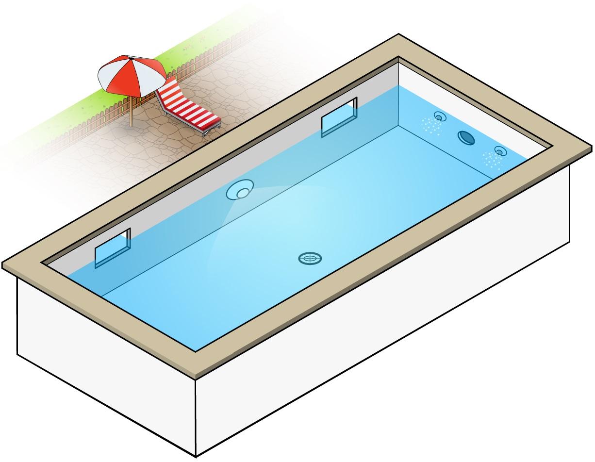Schéma pièces à sceller piscine : quel emplacement ?